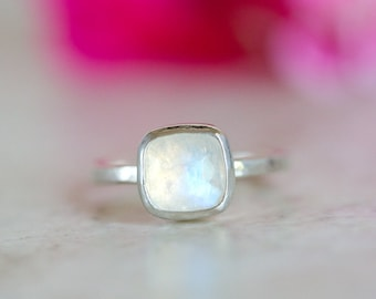 Rainbow Moonstone Ring, Rose Cut Moonstone Ring, Crystal Ring