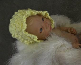 Baby Bonnet,Crochet,Yellow, Girls,Infants,Accessory,Photo Prop,Newborn,Crib cap,3 months,