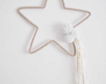Hand made knitted star and pompom - baby room decoration