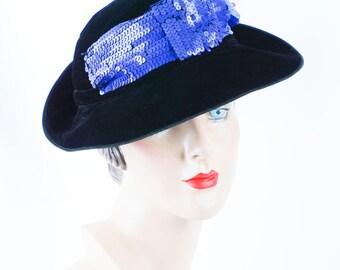 1930s Vintage Hat Black Velvet Sequinned Fedora from H P Wasson Sz 23