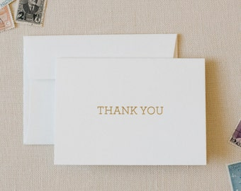 Gold Foil Letterpressed Thank You Cards / Simple Thank You Card in Gold Foil / Foldover Thank You Cards in Gold Foil / Set of 10