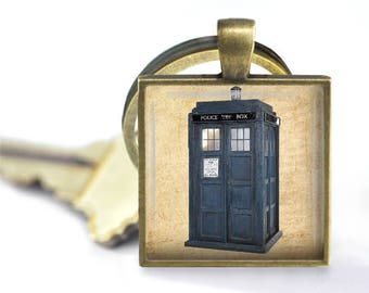 Dr. Who Tardis Pendant, Necklace or Key Chain - Sci Fi, Dr. Who Keychain, TARDIS