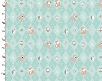 Aqua Argyle Woodland Animal Fabric, Hedgehog, Owl, Squirrel, Bear, Fox Quilt Fabric, 3 Wishes Little Forest 12947 Turq, Baby Fabric, Cotton