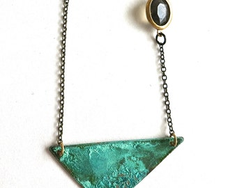 Patina Triangle and Vintage Bead Necklace