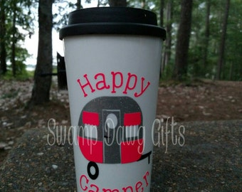 Happy camper coffee cup, happy camper coffee mug, happy camper travel cup, happy camper travel coffee mug, camping, vinyl, dipped glitter