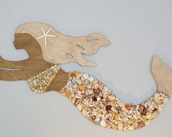 Seashell Mermaid - Beach Cottage Decor - Nautical Decor