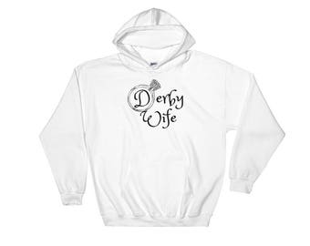 Roller Derby Wife Engagement Ring Logo Hoodie Hooded Sweatshirt Small Medium Large XL 2X 3X