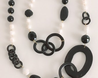Chanel silver long necklace with baroque pearls. Pearl Necklace. Horn necklace. Black and white necklace. Handmade necklace. Gift woman.