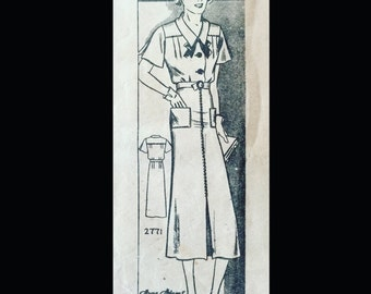 Vintage 30s Art Deco Thin Man Era Yoked Bodice Shirtwaist Dress Pattern 2771 B34