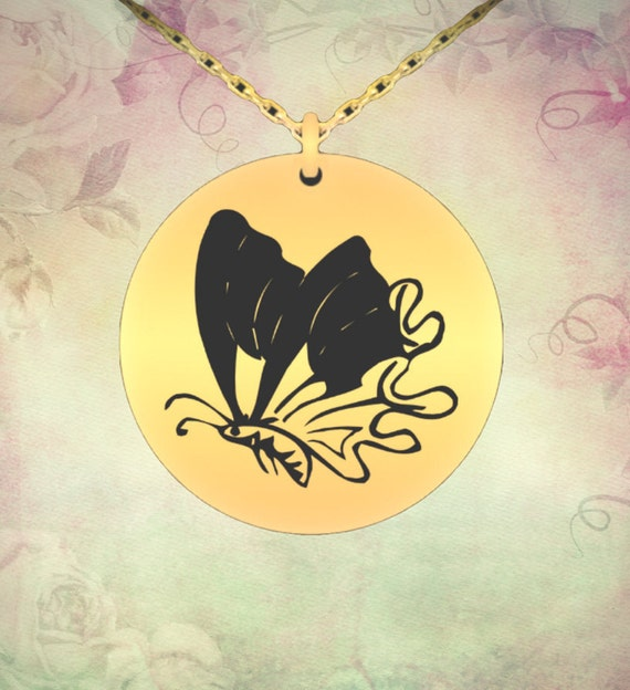 Butterfly Keeper Necklace 18K Gold Plated Engraved Round Charm Pendant
