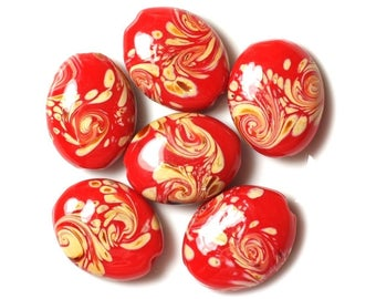 2PC - red glass beads and yellow oval 25x20mm 4558550030788