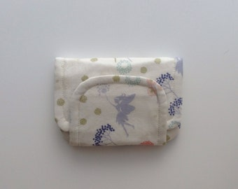 fairy children's fabric wallet / purse . pretty fairies with cream lining . kids coin purse . girls wallet
