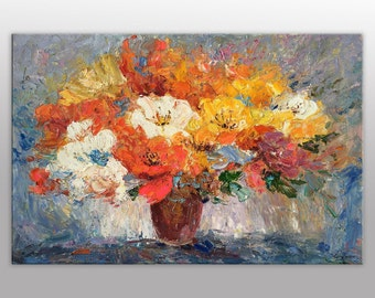 Floral painting etsy floral painting oil painting spring flowers large wall art canvas abstract oil painting mightylinksfo