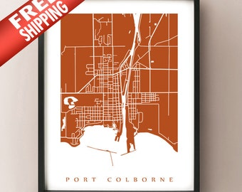Port Colborne, ON Map - Canada Wall Art - Ontario - Niagara Region