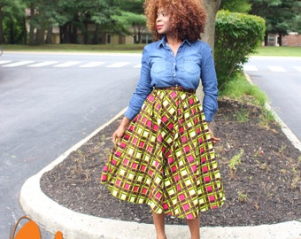 Charis African Print full skirt with pockets (free shipping in the US)