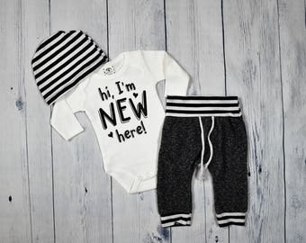 Hi I'm New Here Outfit Baby Boy Coming Home Outfit Baby Boy Outfit Coming Home Set Newborn Boy Outfit Take Me Home Set