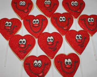 SMILEY FACE HEARTS Decorated Sugar Cookie favors 1 Dozen (12) love valentines day