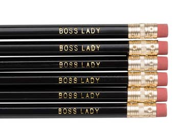 BOSS LADY pencils. Back to school supplies. For Grads. Black pencils. Gold foil pencils. Cute pencils. Funny pencil set.  Gifts for her.