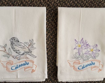Colorado State Bird Lark Bunting & State Flower Columbine Flour Sack Towels