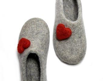 Valentines Day Felted Felt Slippers Felt Hearts, Felt Woolen Slippers Women Slippers Natural Wool Luxury Slippers - Customize Non Slip Sole