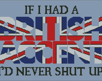 cross stitch pattern British accent
