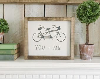 You Plus Me, You Me Sign, You Me, Bike Sign, Love Sign, Friendship, Friends Sign, Nursery Decor, Gift For Her, Wood Sign, Farmhouse Decor