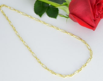 Double Link Figaro Necklace, 14k Gold Classic Necklace, Gold Bridal Necklace, 14k Wedding Necklace, Oval Fine Gold Necklace, Wedding Jewelry