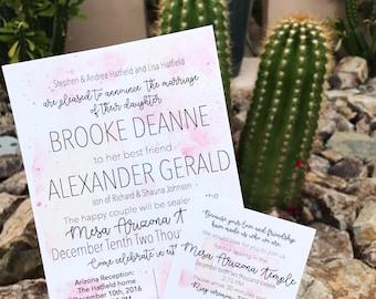 Watercolor Wedding Invitation, watercolor invites, wedding invites, handmade invitations, blush and pink, modern wedding, wedding ideas,