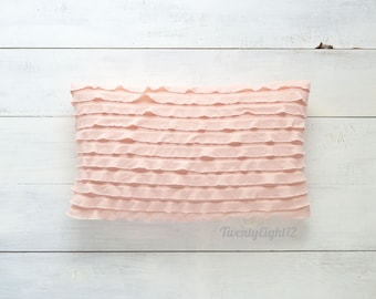 "Pink Ruffle Lumbar Pillow Cover -  12"" x 20"" - Decorative Pillow, Throw Pillow, Pink Pillow Cover, Ruffle Pillow, Kids Room Decor, Pillows"