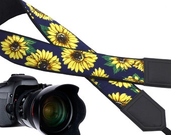 Yellow color camera strap on navy blue background designed for flower lovers.