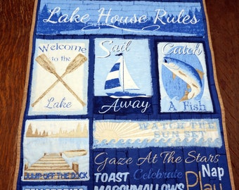 Lake House Rules Quilted Wall Hanging for Lake Cottage, Lake Cabin, Wall or Table