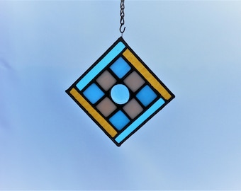 "4-1/4"" x 4-1/4"" Blue, White and Gold Stained Glass Mini Panel"