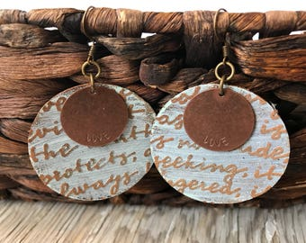 Metal and Leather Earrings-Weathered-Speak Truth-Boho Earrings-Love Scripture-Love Is