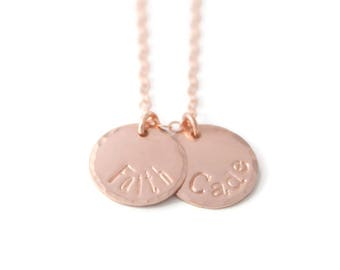 Rose Gold Two Name Mommy Charm Necklace - Rose Gold Filled Disc Mothers Jewelry - Rose Gold Name Pendants