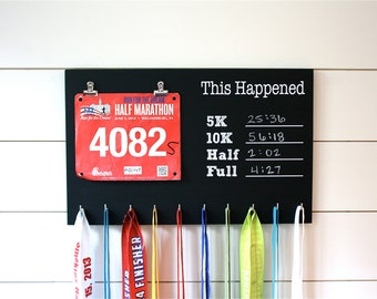 Race Bib and Medal Holder- This Happened - 5K, 10K, Half, & Full on chalkboard