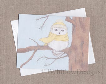 4 x 5.5 Note Card - Winter Owl Card