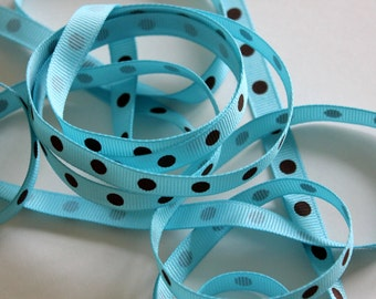 """3/8"""" Dotted Grosgrain Ribbon - Turquoise with Brown Dots - 5 yards"""