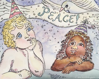 Cherub Dove Peace Card, by Michelle Kogan, Holiday Card, Christmas, Hanukkah, New Years, Art and Collectables, Watercolor, Children's Art