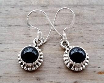 Black Onyx Earrings -  Silver Onyx Earrings - Sterling Silver Earrings - Nepalese Tibetan Jewelry - Silver Dangle Earrings