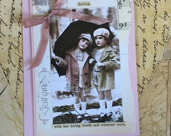 NEW Handmade Vintage Style Love Themed Card