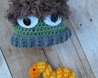Oscar the Grouch inspired hat and worm photography prop