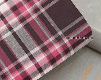 Thin Pink Brown Plaid Cotton Fabric, Yarn Dyed - 1/2 Yard