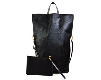 Nicole - Handmade Oversized Black Hair On Hide Leather Tote Bag SS17