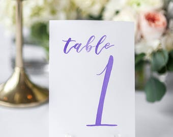 Watercolor Wedding Table Numbers PURPLE // table cards // watercolor // wedding // table numbers // paper table cards // watercolor card