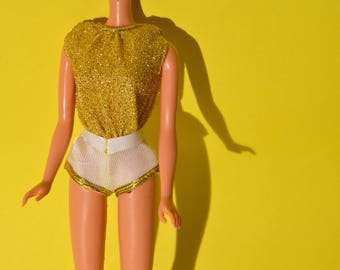 1970's Very HTF Vintage Barbie European Disco shorts jumpsuit in gold Lurex and white