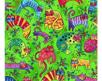 Laurel Burch Fabric Enchantment Cats on Green 1 Yard Y1963-21