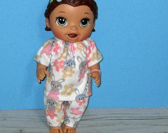 Baby Alive Snackin Lily ,Baby Alive Sweet Spoonfuls, Bunny Pajama Set, Girl Doll Clothes, 12 13 inch Doll Clothes, Outfit