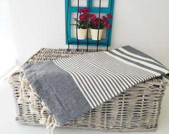 Black Turkish Towel,Black Peshtemal,Black Beach Towel,Turkish Bath Towel,Towel,Bridesmaid Gift,Wedding Gift,Fouta,Wedding Favor,