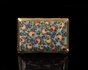 Antique original silver european enamel amazing  diyazn rose decorated cigarette case