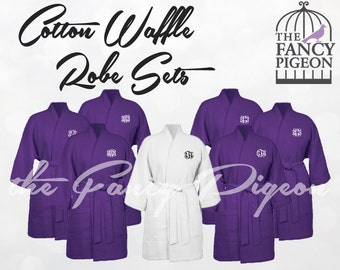 PURPLE COTTON ROBES - Bridal Robe - Wedding Robe - Kimono Robe - Getting Ready Robe - Monogrammed Robe - Bridal Robes - Dressing Gowns